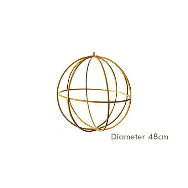 Gold Metal Sphere Ceiling Pendant Decoration - Diameter 60cm