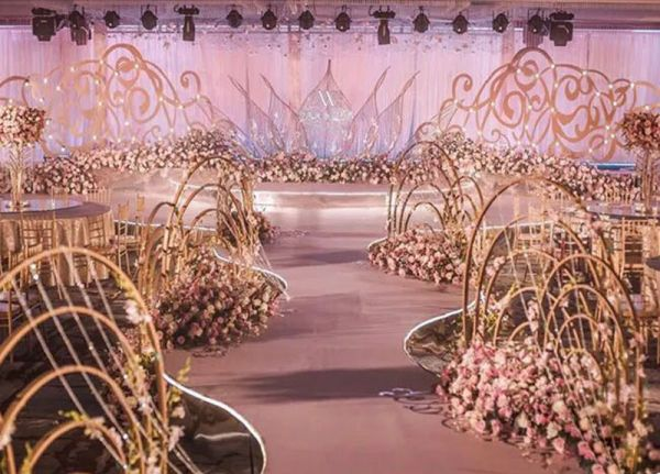 5 Layers Gold Metal Rainbow Arch Backdrop