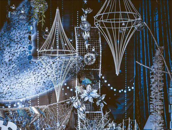 White Gyro Ceiling Pendant Decoration - Height 80cm