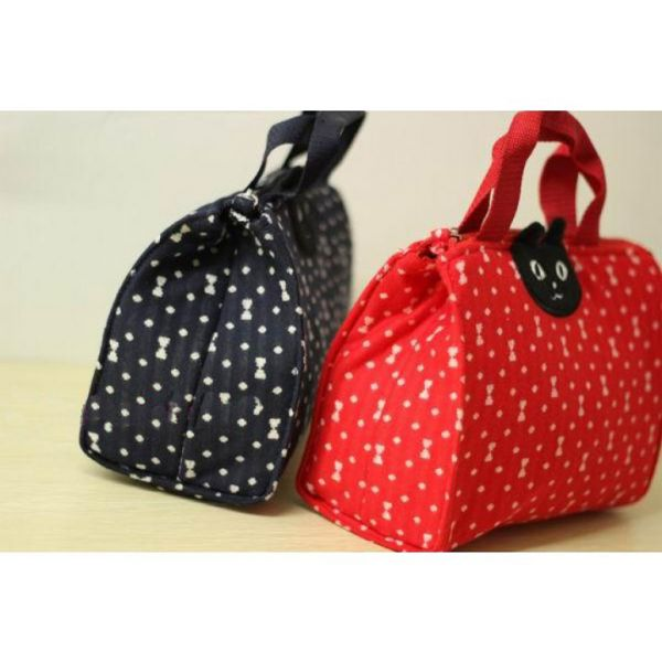 SALE! CAT POLKADOT INSULATED LUNCH BAG - NAVY