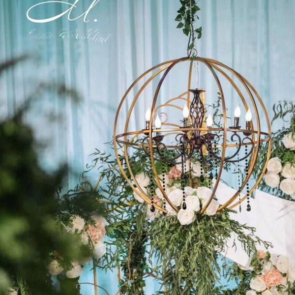 Gold Metal Sphere Ceiling Pendant Decoration - Diameter 83cm