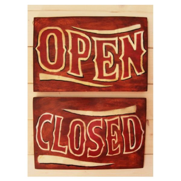 SALE! BROWN OPEN SIGN WOOD PAINTING - 30 X 20 CM
