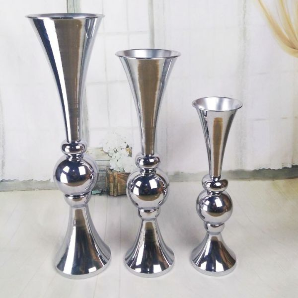 Silver Ball Vase Centerpiece - Height 59cm