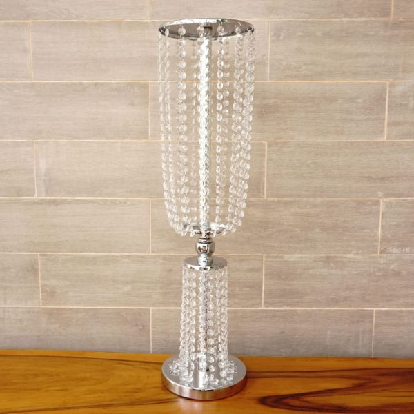 Silver Top Bottom Crystals Centerpiece - Height 80cm